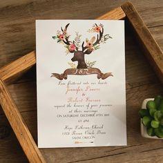 bohemian deer flower wedding invitations EWI414 as low as $0.94