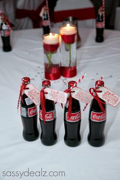DIY Coca-Cola Bottle Wedding Favor Idea #Coke bottle wedding favors #Red wedding idea | CraftyMorning.com