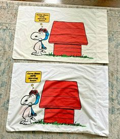 Vintage Snoopy Red Baron CURSE THESE EARLY MORNING HOURS Pillowcases Set of 2 #JPStevens Vintage Bedding, Baron, Pillowcases, Early Morning, Snoopy, Red, Pillow Case Dresses, Pillow Protectors, Pillow Shams