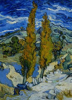 ☼ Painterly Landscape Escape ☼ landscape painting by Vincent van Gogh | Poplars at Saint-Remy, 1889