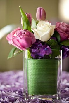Centerpiece Featuring Roses, Tulips and Hydrangeas