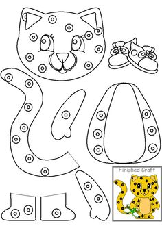 Cheetah printable craft, use colored hole reinforcers for extra FMC practice