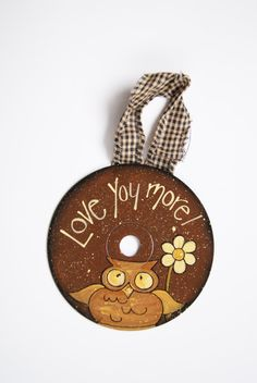 Hand Painted Owl CD Ornament by Ramshackles on Etsy, $6.95