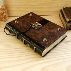 Large Leather Journal with Lock The Brown Book by TeoStudio, $190.00