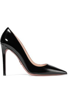 Prada - Glossed Textured-leather Pumps - Black - IT40.5