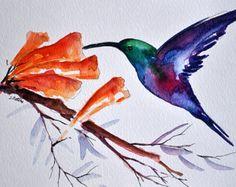 ORIGINAL Watercolor Bird painting, Purple Green Hummingbird 6x8 inch