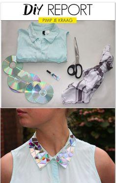 Pimp the collar of your blouse by using CD's -followfashion.nl - Recicla CDs para adornar tu  blusa