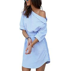 2017 Fashion one shoulder Blue striped women shirt dress Sexy side split Elegant half sleeve waistband Casual beach dresses-in Dresses from Women's Clothing & Accessories on Aliexpress.com | Alibaba Group