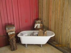 Claw Foot Tub used for Gifts at Red Tin Barn - Joy and Patrick's wedding - April 2013 Southern Charm, Clawfoot Bathtub, Tin, Celebration, Rustic, Weddings, Gifts, Country Primitive, Favors