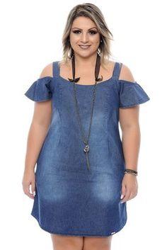 Vestido Jeans Plus Size Babi Big Girl Fashion, Curvy Fashion, Plus Size Fashion, Simple Dresses, Plus Size Dresses, Plus Size Outfits, Summer Dresses, Plus Size Jeans, Demin Dress