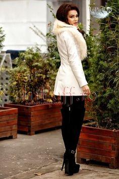 Palton alb cu guler de blana | Paltoane Dama Elegante
