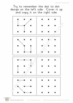 """In the """"Memory Dot Designs (3x3)"""" worksheets, the student must remember the dot to dot design on the left side, so that they can copy it to the right side from memory. Learning For Life, Visual Learning, Dot Designs, Visual Memory, Worksheets, Dots, Student, Memories, Digital"""
