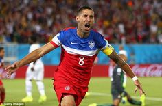 Clint Dempsey celebrates his quickfire opener after catching Ghana cold