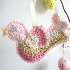 Delicadezas en crochet Gabriela: Aplique decorativo aves