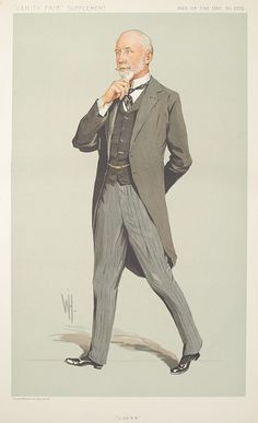 """In Morning Dress (morning coat, waistcoat, and striped trousers) - Frank Ree of L and NW by """"Spy"""""""