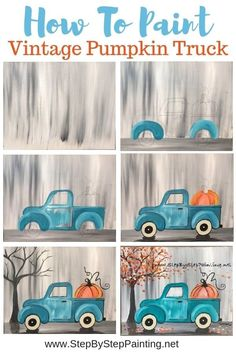 Learn how to paint a teal vintage pumpkin truck! This step by step acrylic painting tutorial is super easy and comes with a free template for the truck that you can print and transfer onto your canvas! Learn with picture directions and video. Fall Canvas Painting, Canvas Painting Tutorials, Autumn Painting, Autumn Art, Diy Painting, Watercolor Painting, Canvas Crafts, Diy Canvas, Canvas Art