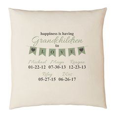 Need a unique gift? Send A Grandparents Love Throw Pillow and other personalized gifts at Personal Creations. Grandparent Gifts, First Names, Grandparents, Mothers, Personalized Gifts, Joy, Throw Pillows, Grandmothers, Toss Pillows