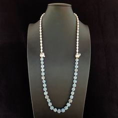 Necklace with Chalcedony cubes & freshwater white pearls. Silver double hook clasp. Statement, handmade, gemstone, light blue colour,for her by Menir on Etsy