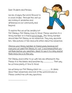 This Includes A Letter To The Families Explain Flat Stanley Project It Also Person That Is Receiving