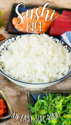 This sushi rice is a simple blend of rice, sugar, vinegar and salt that makes the perfect foundation for any type of sushi, or a side dish to a Japanese style meal. Sushi Rice Recipes, Types Of Sushi, Perfect Foundation, Side Dishes, Meals, Japanese Style, Asian Recipes, Potatoes, Vegetables