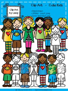 Meet some cute kids ready to color your world!!  14 images (color and black line), 300 dpi png files $