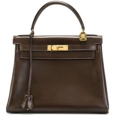 Hermès Vintage Kelly Bag ($9,469) ❤ liked on Polyvore featuring bags, handbags, brown, leather handbags, brown leather purse, hermes handbags, vintage handbags and vintage leather handbags