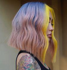 Wavy Bob Haircuts, Multicolored Hair, Edgy Hair, Coloured Hair, Aesthetic Hair, Pretty Hairstyles, Simple Hairstyles, Blue Hair, Hair Pieces