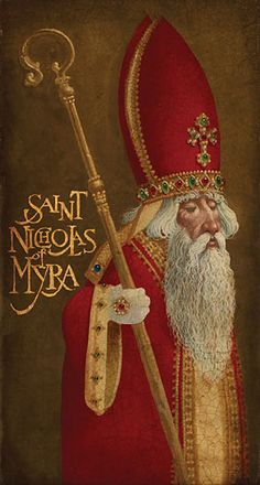 St. Nicholas of Myra by James C. Christensen. This is what my Santa always looked like. :)