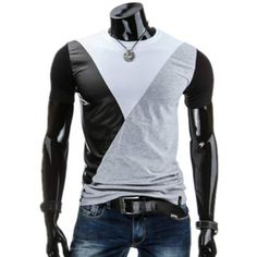9.21$  Buy here - http://diqp6.justgood.pw/go.php?t=177530304 - PU-Leather Spliced Design Round Neck Short Sleeve Men's T-Shirt