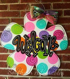 Flower door hanger Spring door hanger welcome door hanger