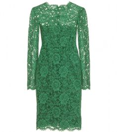 VALENTINO. Demure-meets-decorous in Valentino's emerald Chantilly lace overlay dress. Finished with bows down the back and a sweet scalloped trim.