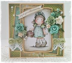 Image detail for -OOAK Magnolia Tilda with Cherries Stitched Handmad Card - by Tab ...