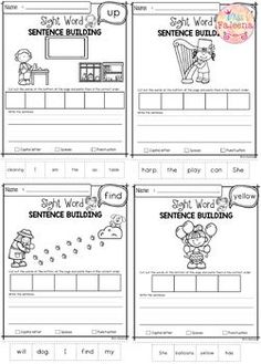 Sight Word Sentence Building Pre-Primer has 40 pages of sentence building worksheets. This product will teach children to read, write and build sight sentences. Grammar Sentences, Sight Word Sentences, Good Sentences, Cvc Words, Sight Words Printables, Sight Word Worksheets, Sentence Writing, Writing Practice, Writing Skills
