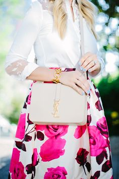 Glam Rose Print A-line Midi Skirt alittledashofdarling