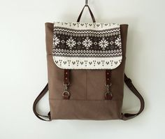 Chocobrown canvas backpack with nordic flap, laptop bag, school bag with leather closure,  Design by BagyBags