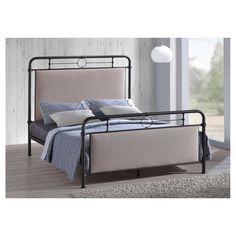 Jina Metal Platform Bed with Upholstered Panels - (Queen) - Baxton Studio, Bronze