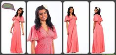 Pink Shabby flutter sleeves long maxi dress by revampdcouture, $30.00