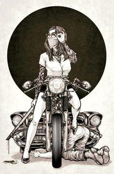 29 Ideas For Motorcycle Girl Illustration Biker Chick Motorcycle Posters, Motorcycle Art, Bike Art, Motorcycle Birthday, Motorcycle Design, Biker Chick, Biker Girl, Pin Up Moto, Art Moto