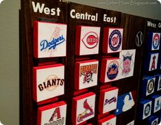 baseball team board-movable teams to keep track of the current standings. Great project to do with the kids!