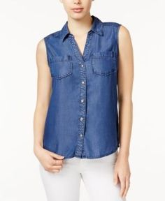 Maison Jules Chambray Sleeveless Shirt, Only at Macy's - Blue S