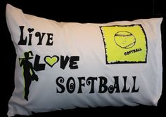PERSONALIZED Live Love SOFTBALL Pillowcase by ThePillowshack, $13.99