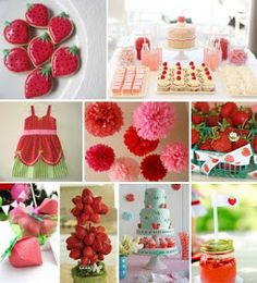 Love the strawberry favor box and topiary.