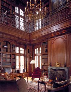 Two-story study/library, French chateau style Library Room, Dream Library, Grand Library, Cozy Library, Library Ideas, Luxury Homes Dream Houses, Home Libraries, Grand Homes, Library Design