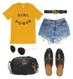 """Untitled #5138"" by lilaclynn ❤ liked on Polyvore featuring Gucci, Levi's, Ray-Ban, rayban and gucci"
