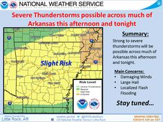 says For The Little Rock Metro & All Of Central Arkansas Thru Monday: Scattered To Numerous Showers & Thunderstorms. Some Severe With Large Hail & Damaging Winds Thru This Evening. Hi 93 With A Heat Index Of 99 & Lo 70. Saturday: Cooler..With Isolated Early AM Showers & Thunderstorms. Hi 85. Saturday Night Thru Sunday Night: Partly Cloudy. Lo's Near 67 & Hi Sunday 86. Monday: Widely Scattered Showers & Thunderstorms, Hi 89. - www.weather4ar.org/ - D.Poole