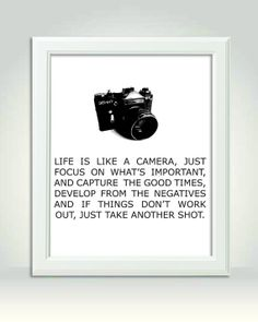 I want this for my bedroom!!!! Life is Like A Camera Art Print 8x10 Charcoal by ContrastDesigns, $20.00 16x20 $40