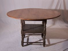 Vintage New England tiger maple round top tavern table with old painted base #Country