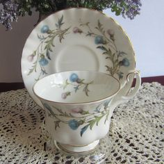 Royal Albert BRIGADOON with Scottish Thistles Bone China Tea Cup and Saucer by LauriesFineChina on Etsy