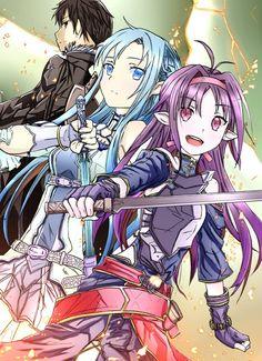 Kirito (Kazuto), Asuna (Yuuki Asuna) & Yuuki (Konno Yuuki) - By Sword Art Online ღ Sword Art Online Asuna, I Love Anime, Awesome Anime, Online Anime, Online Art, Studio Ghibli, Fairy Tail, Tous Les Anime, Gurren
