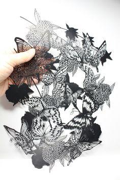 こでまりと蝶 切り絵 Butterfly and spirea-kuroneko miyuki